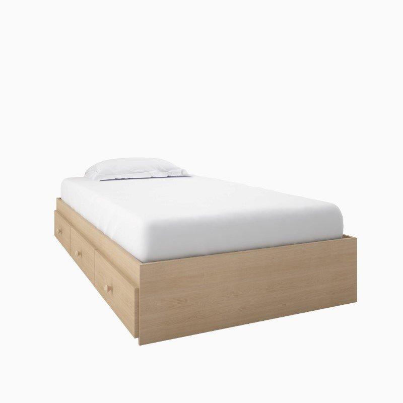 Nexera Alegria Twin Captain's Bed in Natural Maple Finish
