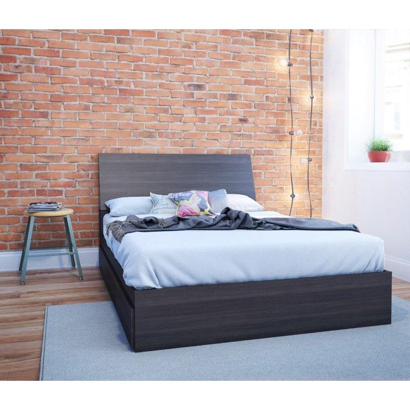 Nexera Allure Full Size Bed with Headboard in Ebony (400556)
