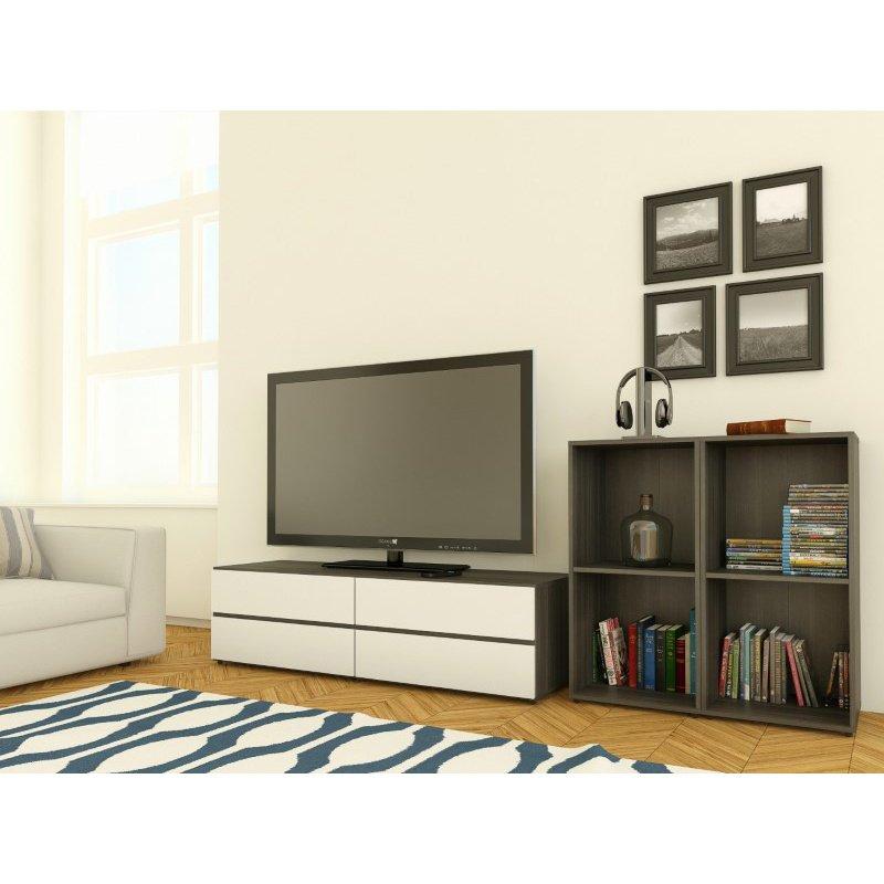 Nexera Allure TV Stand in White Lacquer & Ebony with Open Storage