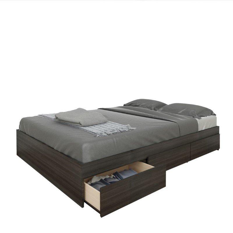Nexera Atom 54 Reversible Storage Bed in Ebony