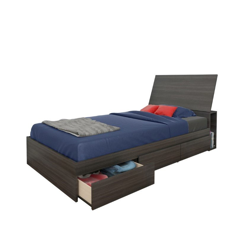 Nexera Atom Twin 3 Drawer Storage Bed in Ebony