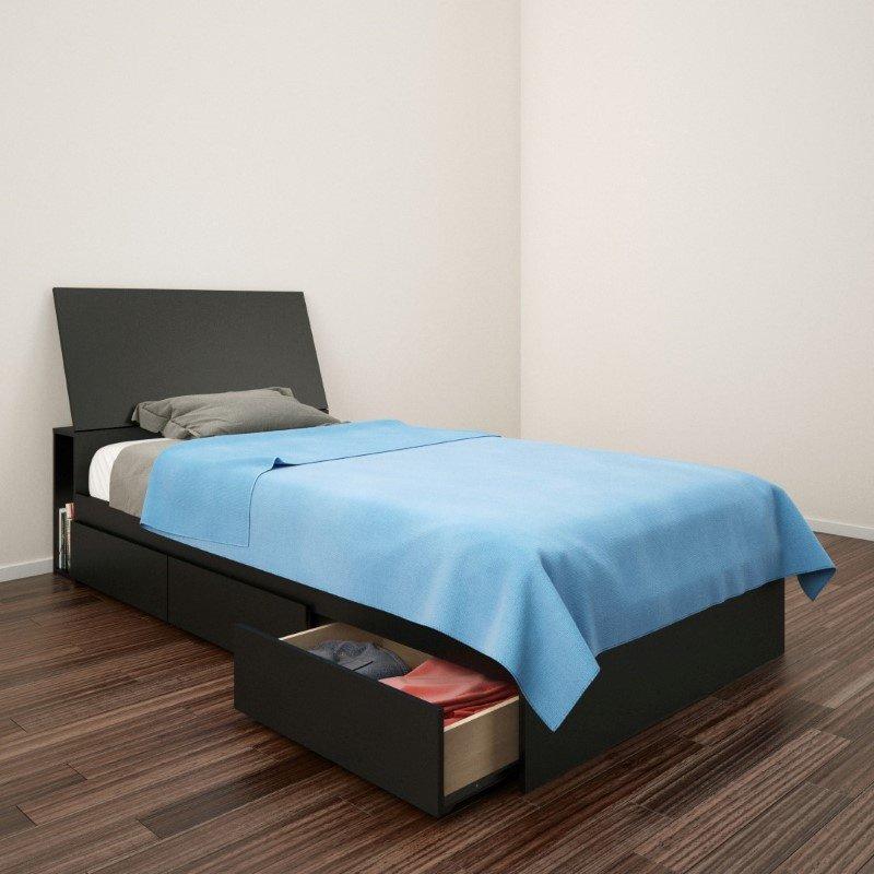 "Nexera Avenue 2 Piece 39"" Twin Bedroom Set in Black Lacquer and Melamine"