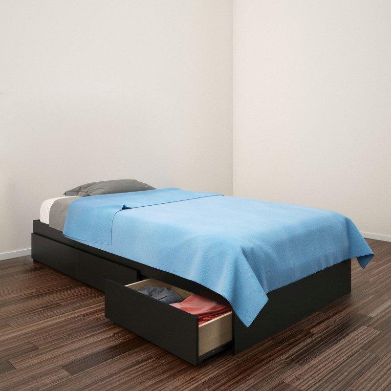 Nexera Avenue Twin Size Storage Bed In Black (223906)