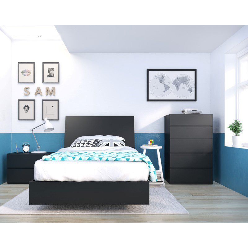 Nexera Corbo 4-Pieces Twin Bedroom Set in Black (400808)