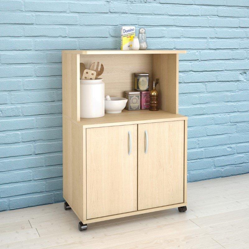 Nexera Delissio Microwave Kitchen Cart in Natural Maple