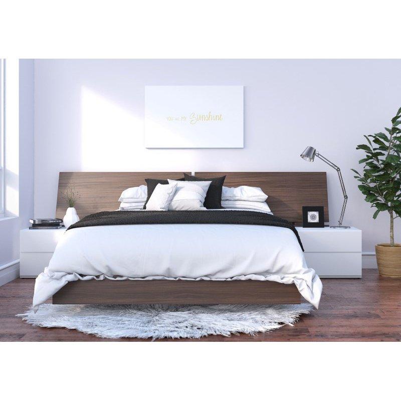 Nexera Denali 4-Pieces Queen Size Bedroom Set in Walnut and White (400871)