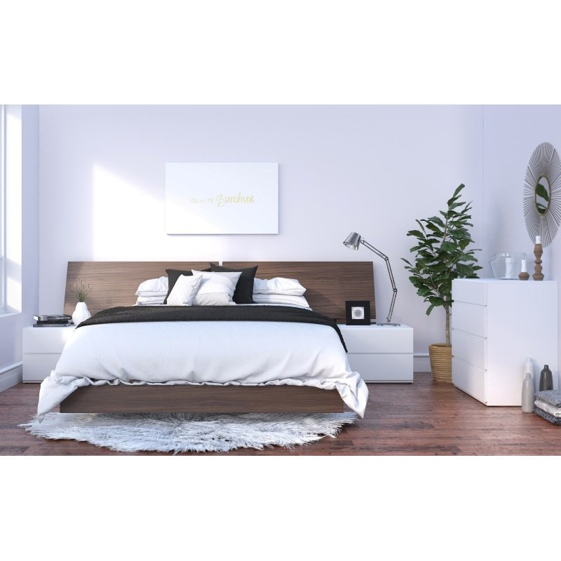 Nexera Denali 5-Pieces Queen Size Bedroom Set in Walnut and White (400872)