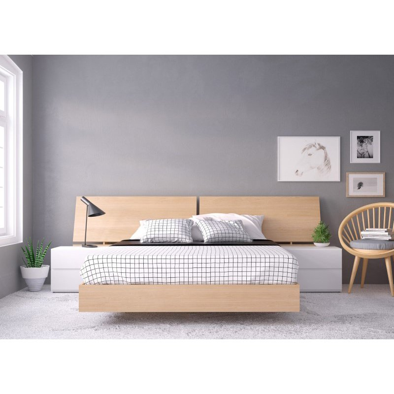 Nexera Fiji 4-Pieces Queen Size Bedroom Set in Natural Maple and White (400841)