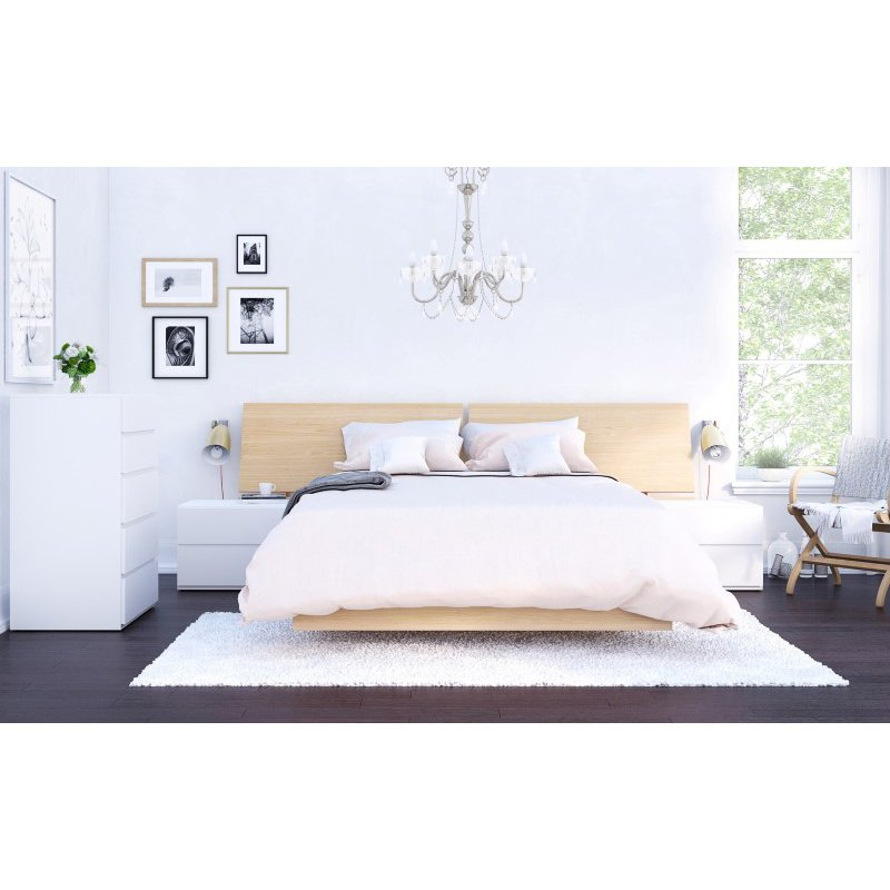 Nexera Fiji 5-Pieces Full Size Bedroom Set in Natural Maple and White (400840)