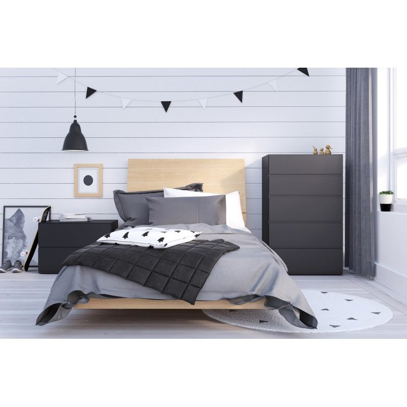 Nexera Muse 4-Pieces Twin Size Bedroom Set in Black and Natural Maple (400852)