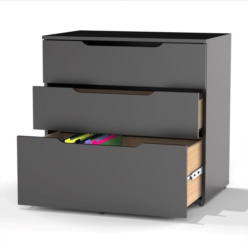 Nexera Next 3 Drawer Filing Cabinet in Black
