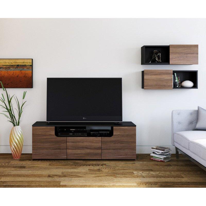 Nexera Next 3 Piece TV Stand Set in Black and Walnut