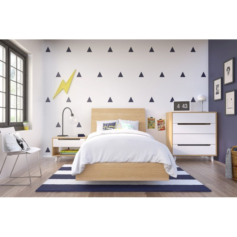 Nexera Nordik 4-Pieces Twin Size Bedroom Set in Natural Maple and White (400728)