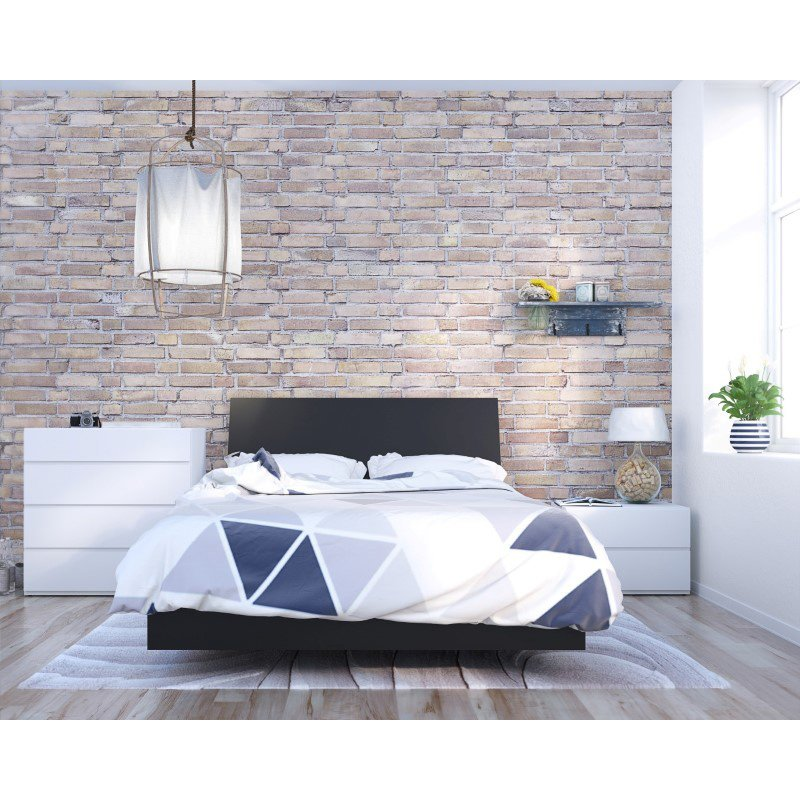 Nexera Orca 4-Pieces Full Size Bedroom Set in Black and White (400821)