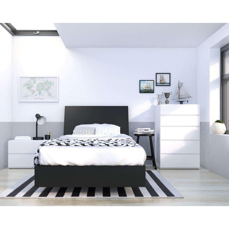 Nexera Orca 4-Pieces Twin Size Bedroom Set in Black and White (400817)