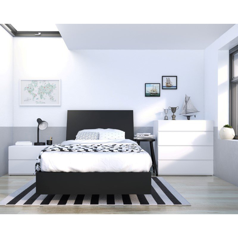 Nexera Orca 4-Pieces Twin Size Bedroom Set in Black and White (400818)