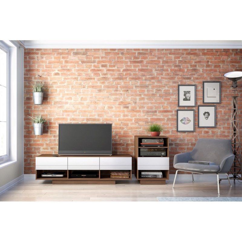 Nexera Sequence 2-Pieces Entertainment Set in Walnut and White (400684)