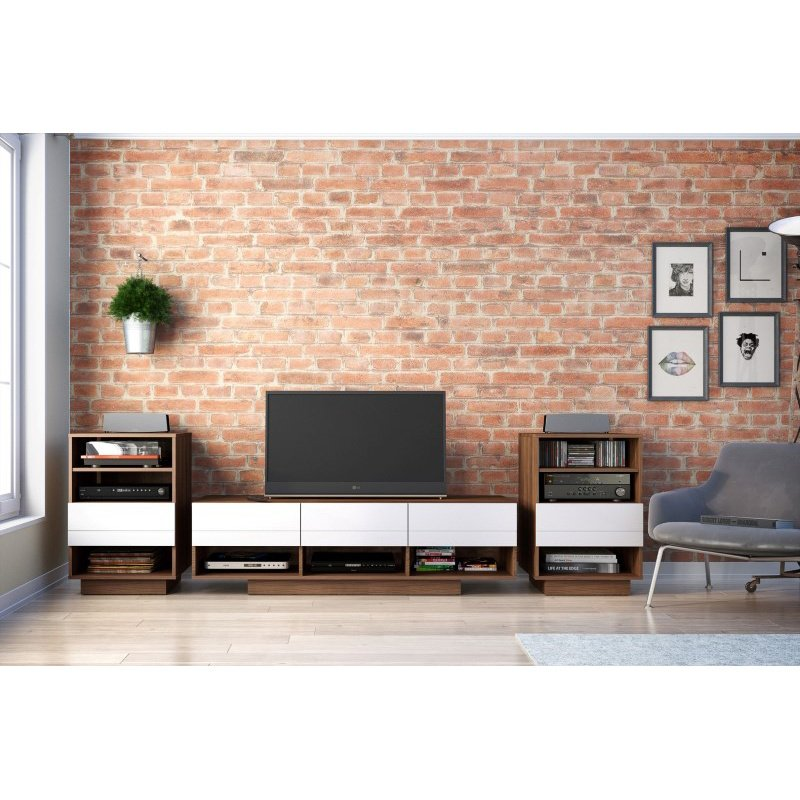 Nexera Sequence 3-Pieces Entertainment Set in Walnut and White (400685)