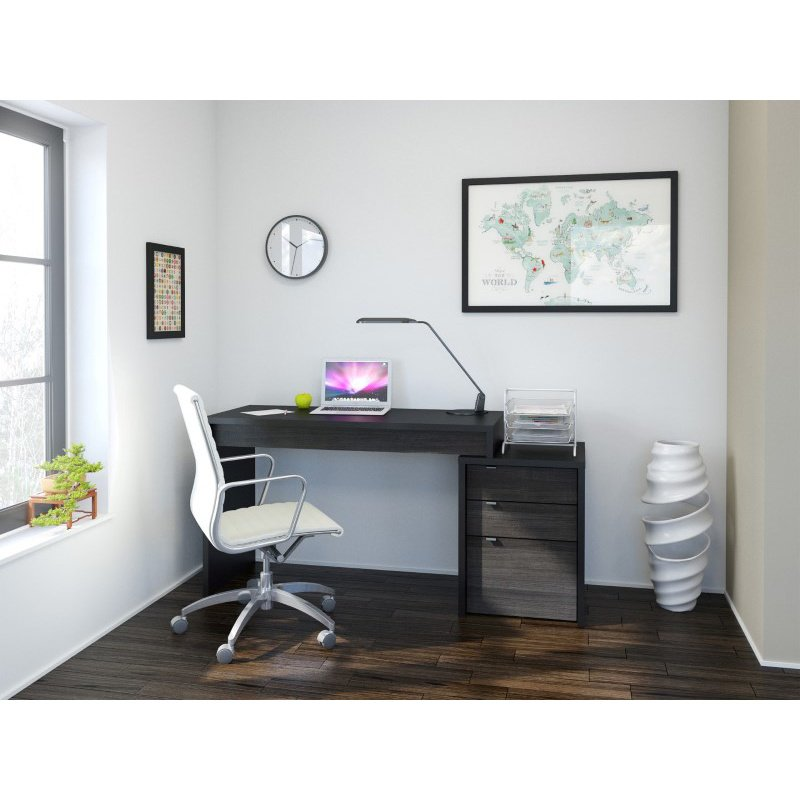 Nexera Sereni-T 2-Pieces Home Office Set in Black and White (400616)