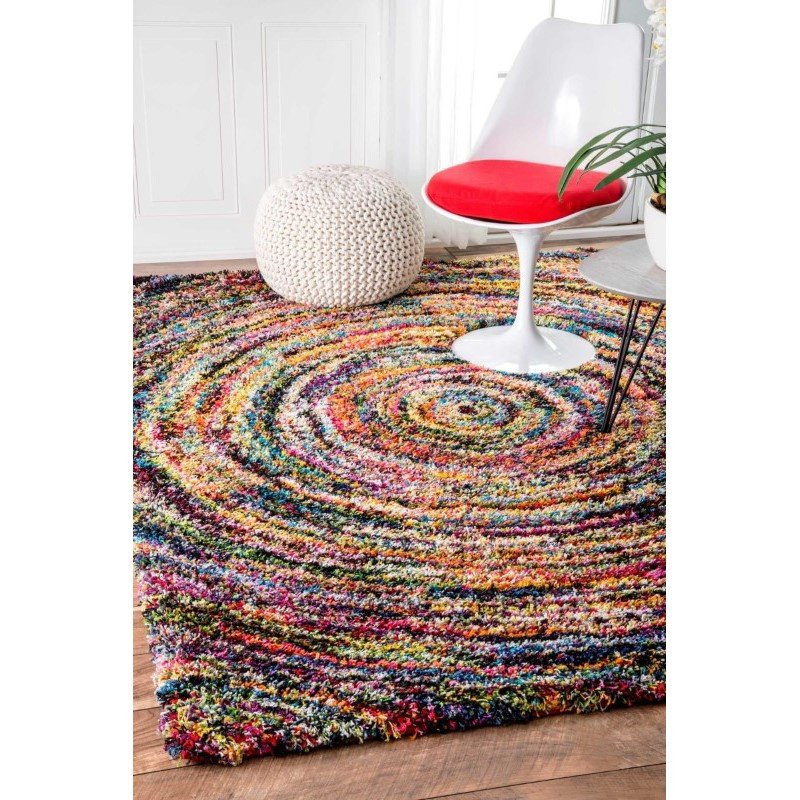 "nuLOOM Ardelle Swirl Shaggy Rug 7' 10"" x 10' Multi Rectangle (OZXL03A-8010)"