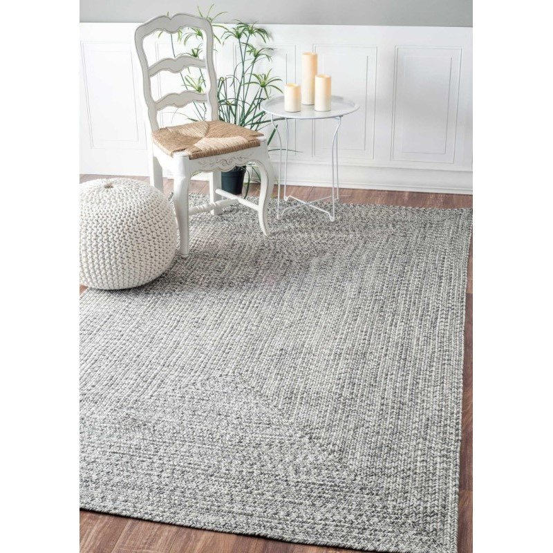 "nuLOOM Braided Lefebvre Rug 7' 6"" x 9' 6"" Salt and Pepper Oval (HJFV01C-76096O)"