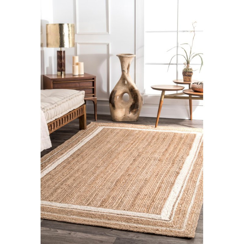 nuLOOM Braided Rikki Border Jute 5' x 8' Rectangle Rug in Off-White (TADR04A-508)