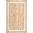 nuLOOM Braided Rikki Border Jute 8' Round Rug in Off-White (TADR04A-808R)