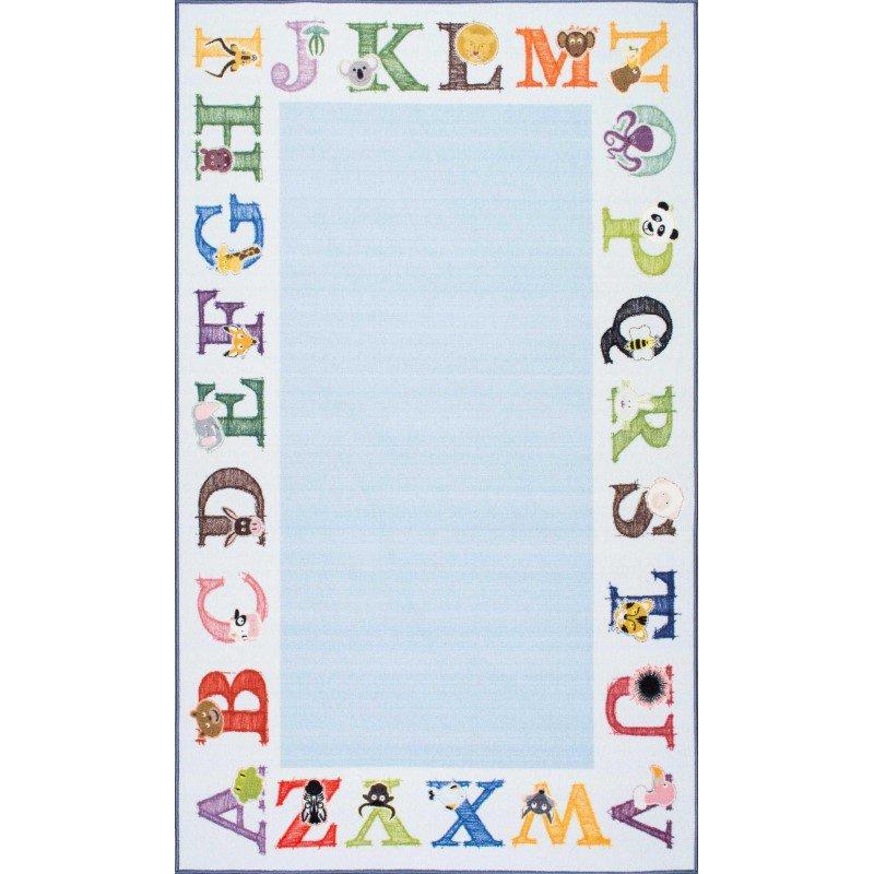 "nuLOOM Celesta Alphabet Rug 5' x 8' 2"" Baby Blue Rectangle (DIRE6B-508)"