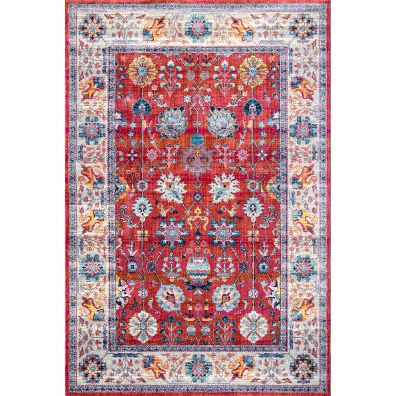 "nuLOOM Classic Tinted Floral 7' 10"" x 10' 10"" Rectangle Rug in Red (RZDR02B-71001010)"