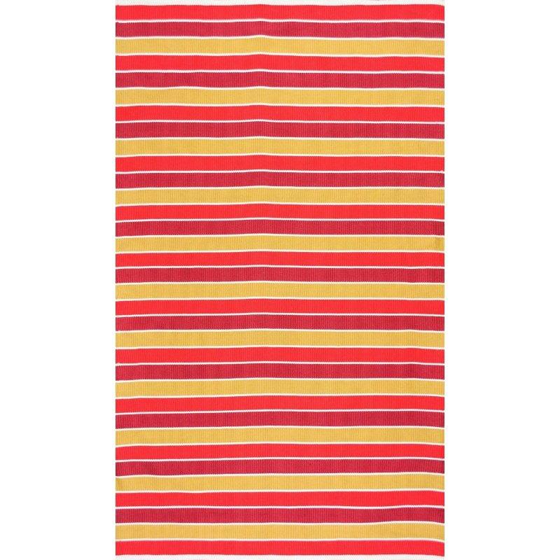 nuLOOM Flatweave Indoor/Outdoor Kenton Stripes Rug 5' x 8' Sunset Rectangle (HCDE01C-508)