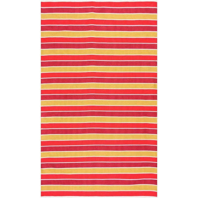 "nuLOOM Flatweave Indoor/Outdoor Kenton Stripes Rug 7' 6"" x 9' 6"" Sunset Rectangle (HCDE01C-76096)"
