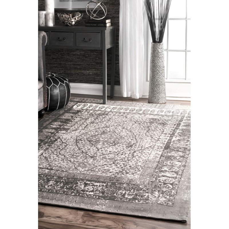 "nuLOOM Flatweave Vintage Laplante 7' 6"" x 9' 6"" Rectangle Rug in Grey (TAPL01A-76096)"