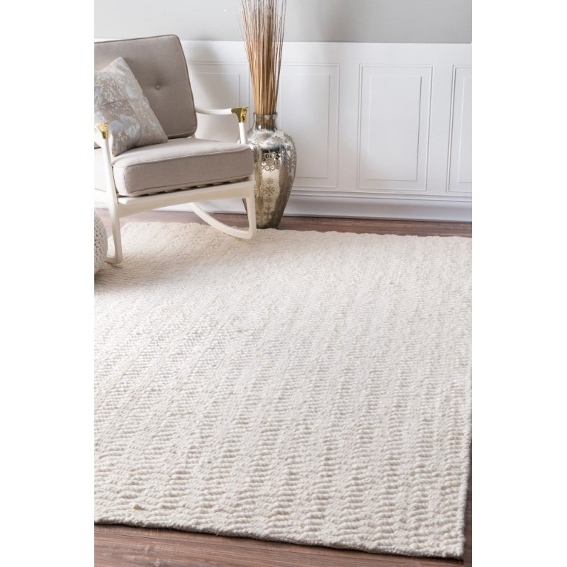 nuLOOM Glendora Hand Woven Chevron 6' x 9' Rectangle Rug in Ivory (VESE01A-609)