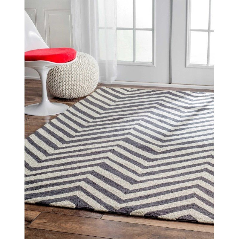 nuLOOM Hand Hooked Chevron Area Rug 5' x 8' Charcoal Rectangle (HJHK04A-508)