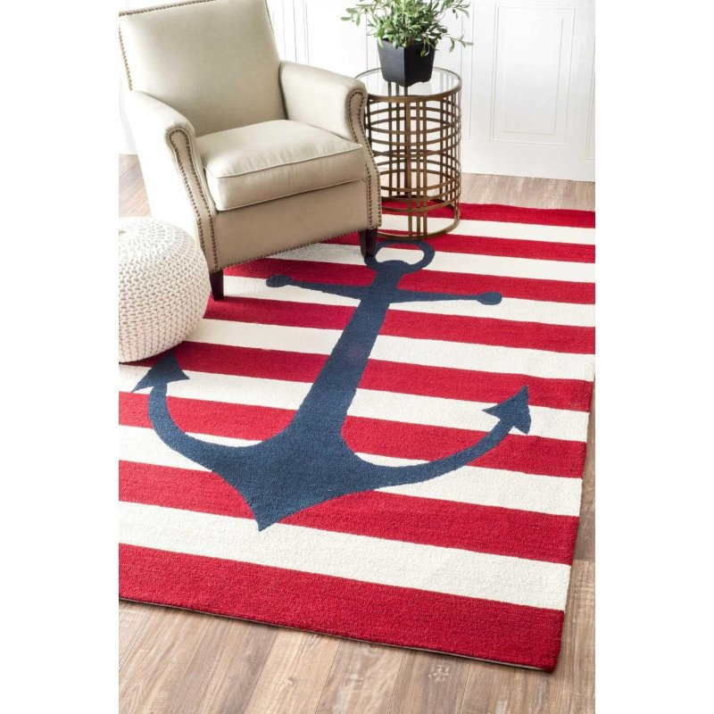 nuLOOM Hand Hooked Marigot Rug 5' x 8' Red Rectangle (HJHK127A-508)