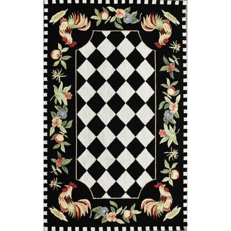 "nuLOOM Hand Hooked Morning Glory Rug 3' 6"" x 5' 6"" Black Rectangle (HJHK01A-36056)"
