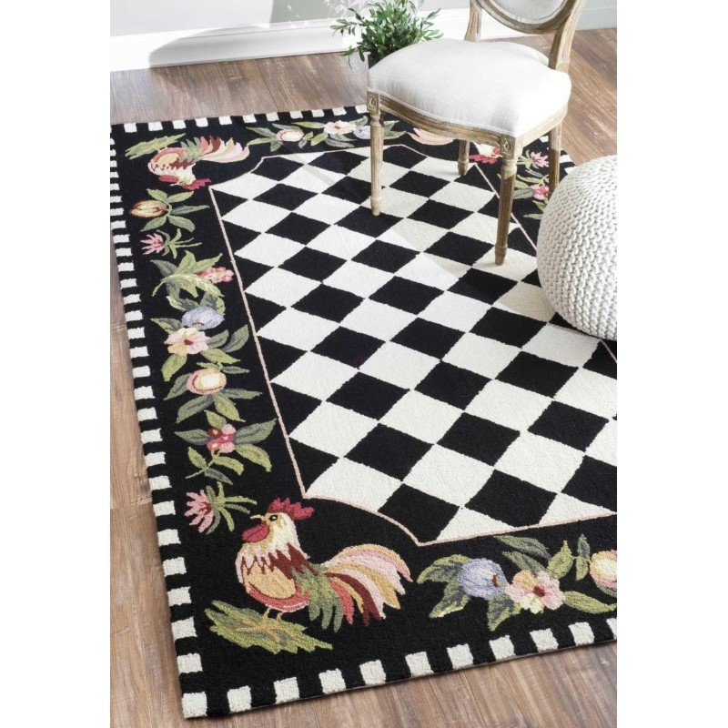 "nuLOOM Hand Hooked Morning Glory Rug 7' 6"" x 9' 6"" Black Rectangle (HJHK01A-76096)"