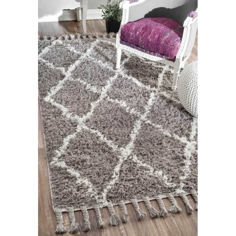 nuLOOM Hand Knotted Fez Shag Rug 9' x 12' Grey Rectangle (SPRE14B-9012)