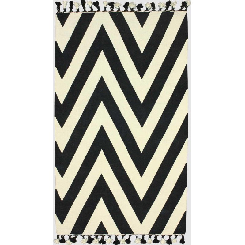 """nuLOOM Hand Loomed Pippa Chevron Flatweave Cotton Rug with Pompoms 7' 6"""" x 9' 6"""" Black Rectangle (RALE1B-76096)"""