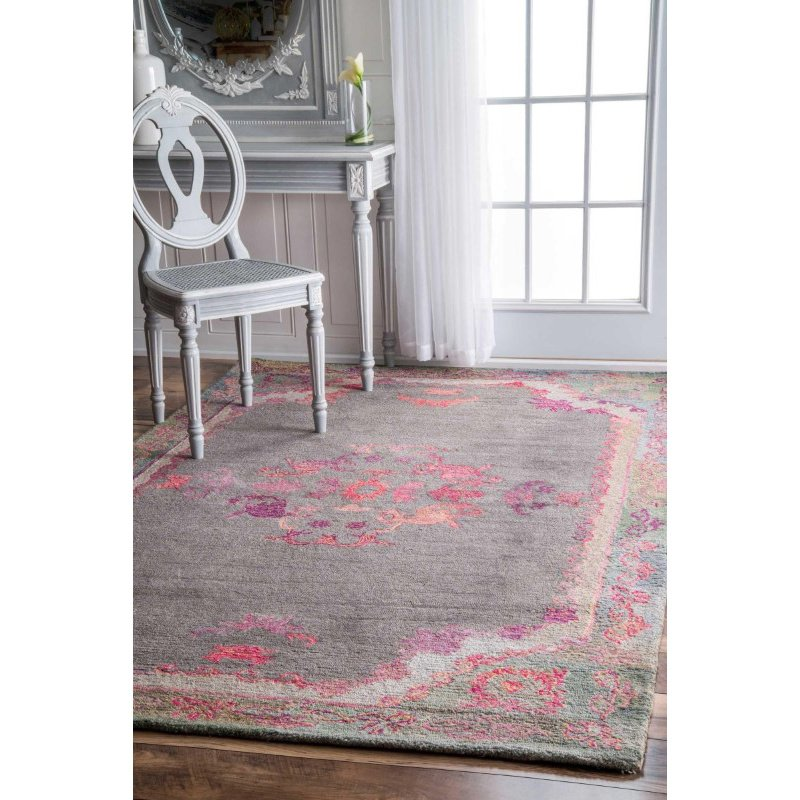 nuLOOM Hand Tufted Floral Kiesha Rug 5' x 8' Grey Rectangle (GYBD02A-508)