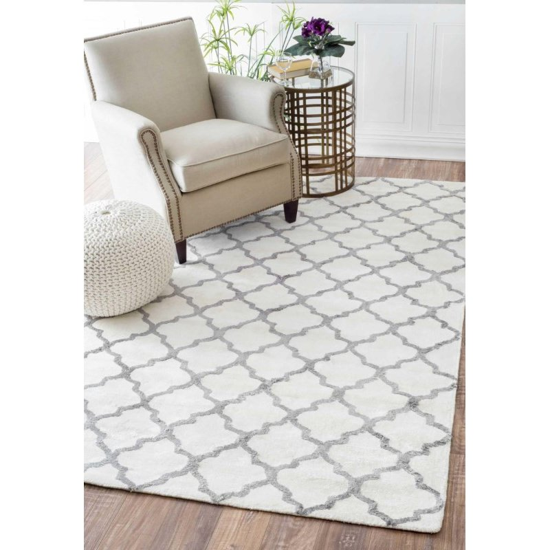 nuLOOM Hand Tufted Lanelle Rug 4' x 6' White and Grey Rectangle (AKMA5A-406)