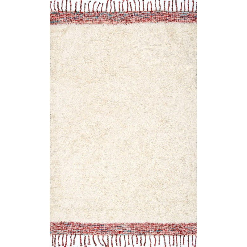 "nuLOOM Hand Tufted Solid Tassel Lane Shag Rug 7' 6"" x 9' 6"" Cream Rectangle (GYKL06A-76096)"