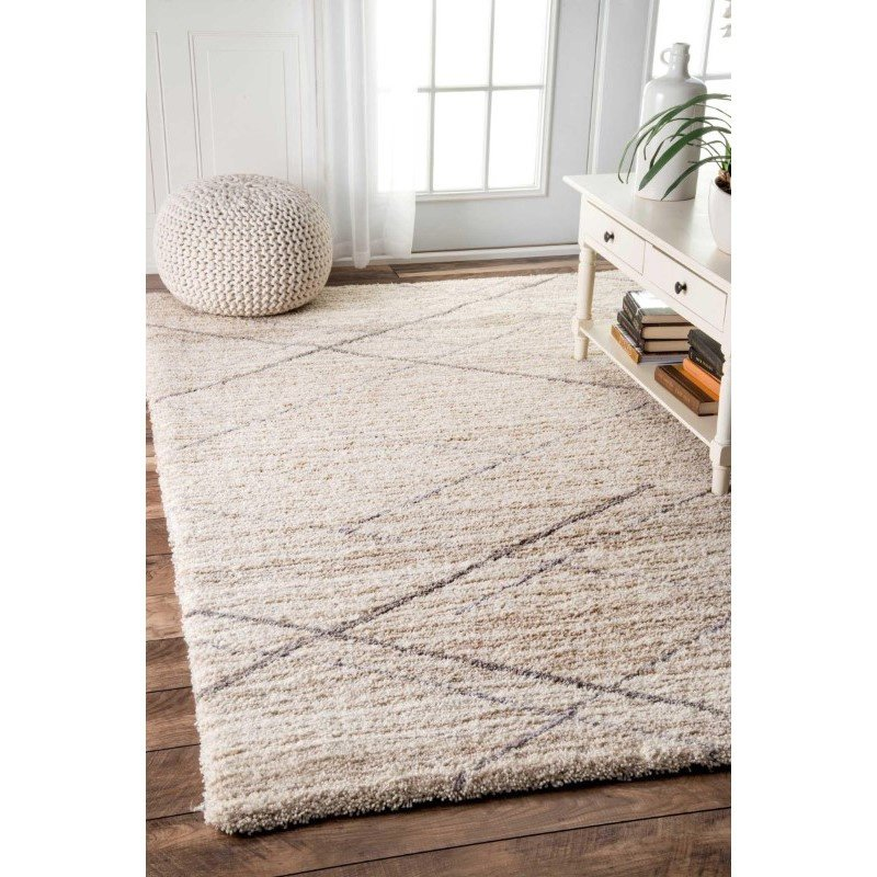 "nuLOOM Hand Tufted Trellis Vito Shag Rug 7' 6"" x 9' 6"" Beige Rectangle (HJKZ07B-76096)"