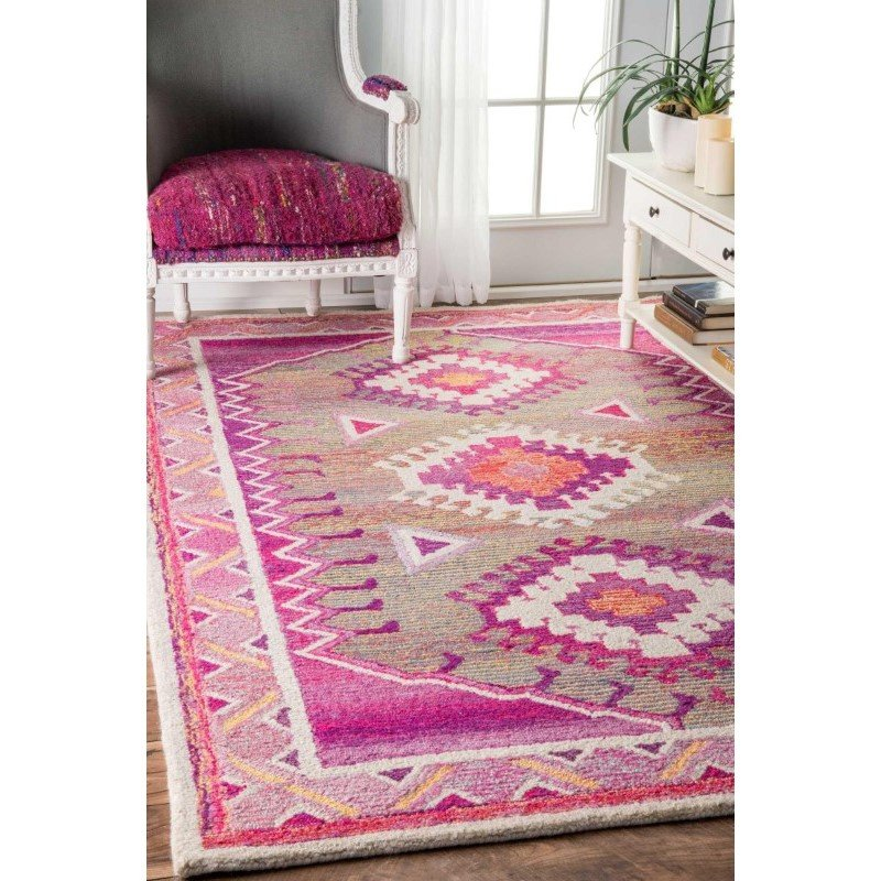 "nuLOOM Hand Tufted Tribal Diamond Elza Rug 2' 6"" x 8' Pink Runner (GYBD03A-2608)"