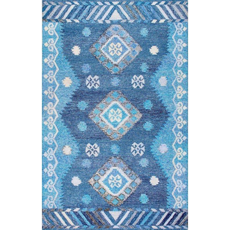 """nuLOOM Hand Tufted Tribal Diamond Valene Rug 2' 6"""" x 8' Blue Runner (GYBD04A-2608)"""