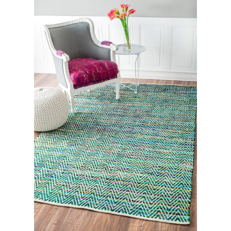 nuLOOM Hand Woven Chevron Rochell 6' x 9' Rectangle Rug in Green (VIAG01C-609)