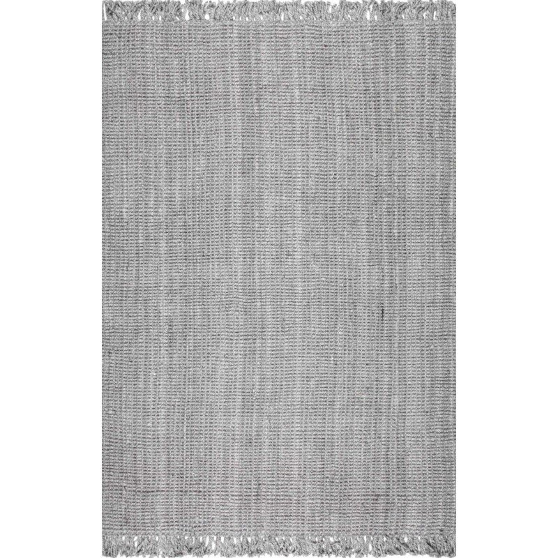 nuLOOM Hand Woven Chunky Loop Jute Rug 4' x 6' Grey Rectangle (NCCL01G-406)