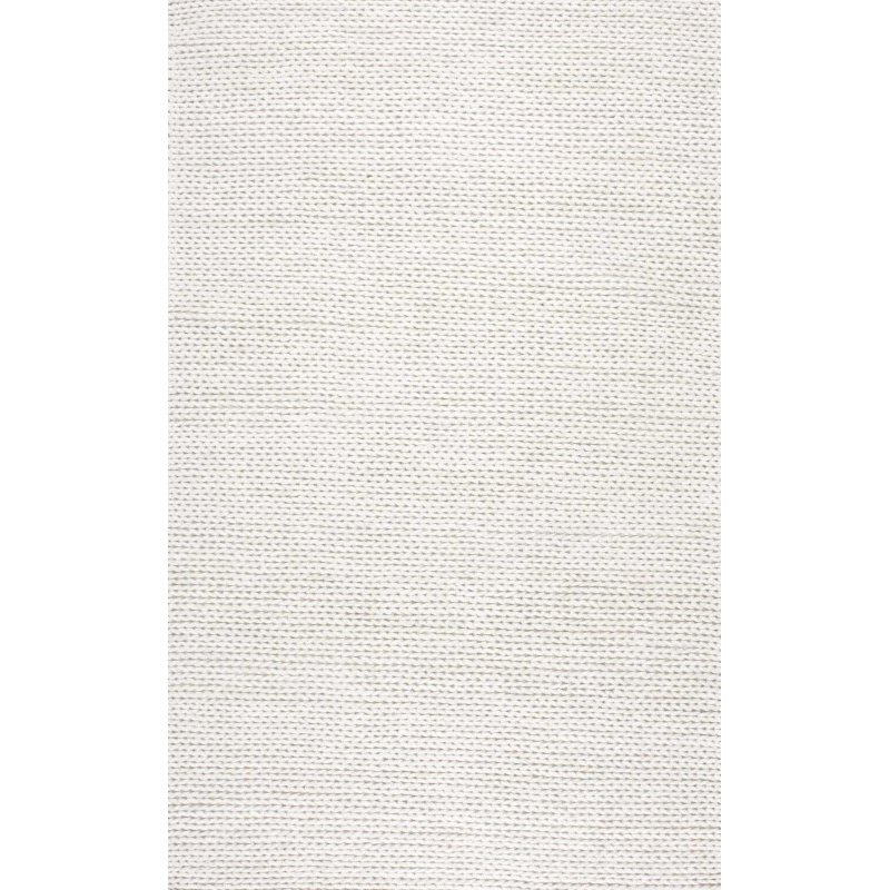 nuLOOM Hand Woven Chunky Woolen Cable Rug 10' x 14' Off White Rectangle (CB01-10014)