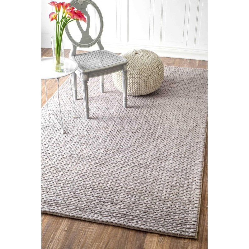 nuLOOM Hand Woven Chunky Woolen Cable Rug 3' x 5' Light Grey Rectangle (CB01D-305)