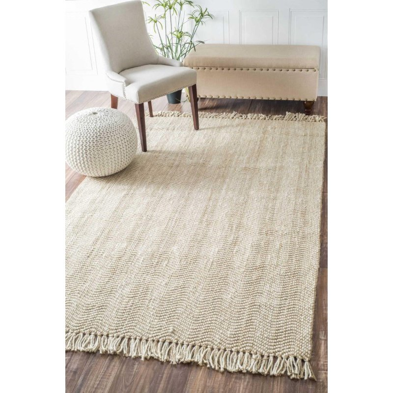 nuLOOM Hand Woven Don Jute with Fringe Rug 5' x 8' Natural Rectangle (NCNT01A-508)
